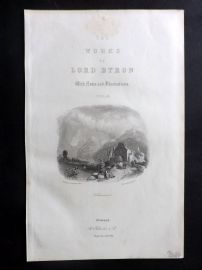 Finden Works of Byron C1840 Antique Print. Villeneuve, Switzerland. Title